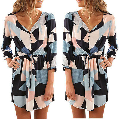 Women Summer Bandage Blouse Evening Party Cocktail Casual Mini Dress S LZF03