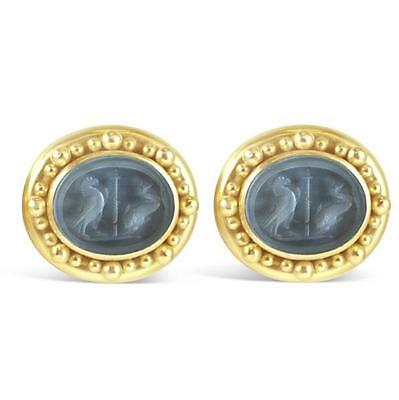 *ELIZABETH LOCKE* 18K Yellow Gold Earrings Signed Cameo Glass Intaglio