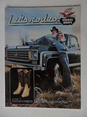 1977 Print Ad Nocona Western Cowboy Boots ~ Let's Rodeo Pickup Truck