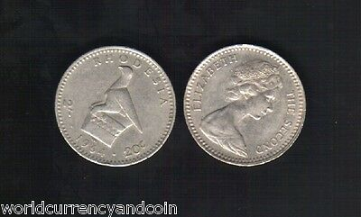 RHODESIA ZIMBABWE 2 SHILLINGS / 20 CENTS 1964 QUEEN BIRD MONEY COIN FreeShipping