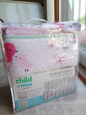 Carter's Child of Mine Pink Birds Fresh Air Crib Liner (NEW) Free Shipping