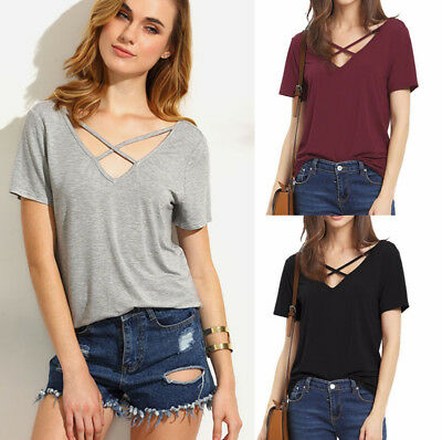 Women Ladies Summer Short Sleeve Shirt Loose Casual Blouse Tops T-Shirt M YTY6