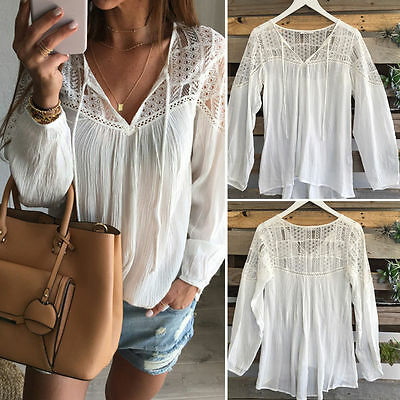 Fashion Womens Summer White Lace Tops Long Sleeve Blouse Loose T-shirt  L LZF06