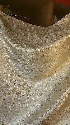"1M Pale Gold/White Colour Paisley Metalic Brocade  Fabric 58"" Wide"