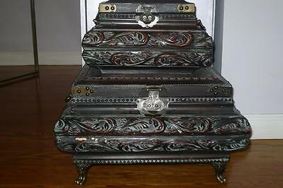 2 Beautiful ! Antique VIntage Carved Wood Leather Box Brass footed Large Set