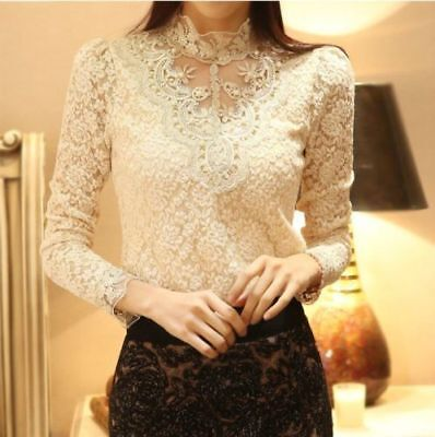 Fashion Women Ladies Summer Loose Casual Long Sleeve Blouse Apricot 2XL HYQ03