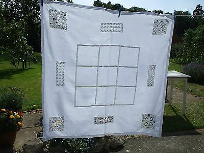 Vintage white Irish  Linen tablecloth with lace inserts