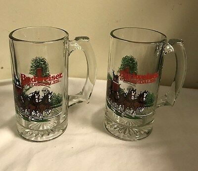 "Budweiser Clydesdales 1991  Glass Mugs - 10 Oz. - Set of 2  -  6 "" tall II"