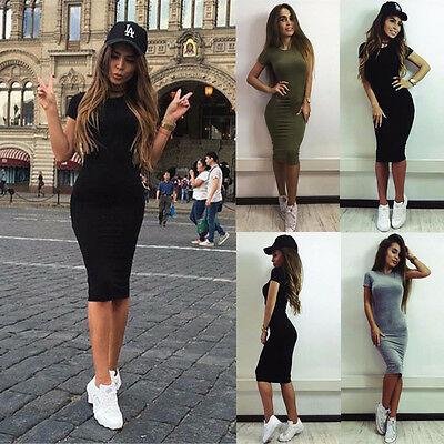 Fashion Womens Casual Short Sleeve Long Dress Evening Party Cocktail Grey S LZF5