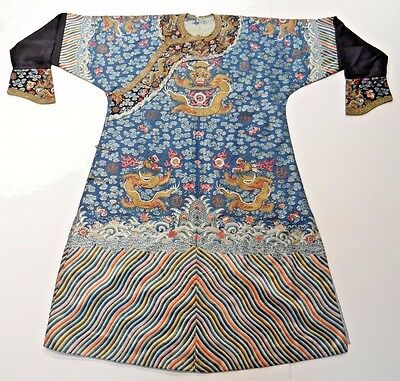 19th C. Qing [Ching] Dyn. Chinese Silk Embroidered 5-Claw Ch'i-fu Dragon Robe