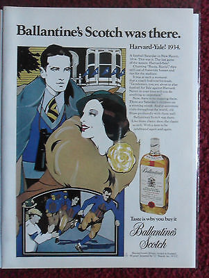1974 Print Ad Ballantine's Scotch ~ 1934 HARVARD - YALE Patrick Nagel ART