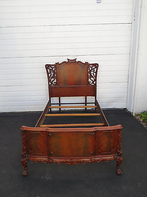 Ball and Claw Feet Carved Flame Mahogany Chippendale Twin Size Bed 8563