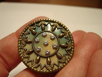 Antique CELLULOID brass and white metal LARGE design button