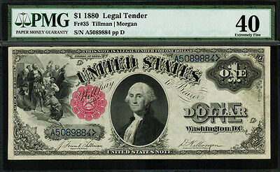 1880 $1 Legal Tender FR-35 - Scarce - Graded PMG 40 - Extremely Fine