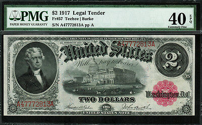 1917 $2 Legal Tender FR-57 - Graded PMG 40 EPQ - Extremely Fine