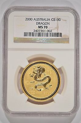 2000 Australia $100 Year of the Dragon Lunar 1 oz Gold Coin NGC MS70 3407361-002