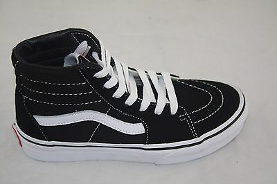 e391f31ef08f Youth Vans Sk8-Hi Kids VN000D5F6BT Black True White Suede Canvas Casual  Sneaker