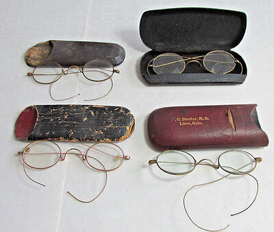 4 Pair Of Antique Eyeglasses Or Spectacles, Gold Filled Rims, with Cases,Glasses