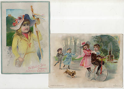 7 Lion Coffee Tradecards From Woolson Spice Co., Tricycle, Cherub, Flowers, Lady