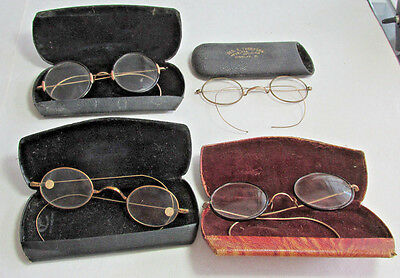 4 Pair Of Antique Eyeglasses Or Spectacles, Gold Filled Rims, 2 are Horn Rimed