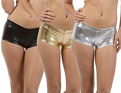 Nihoe Women's Shiny Metallic Mini Shorts Hot Pants Large 3Pack Black/Goldl/Silve