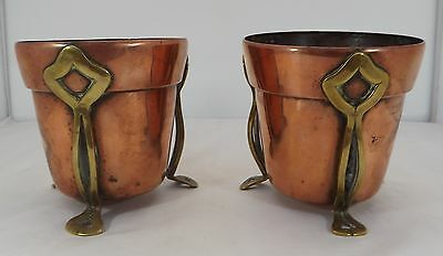 Lovely Pair Of Small Antique Arts & Crafts Copper & Brass Planters Art Nouveau