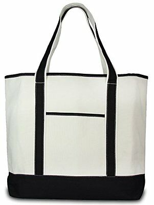 Deluxe Canvas Tote Bag Black Travel Totes Luggage, New