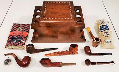 Vintage Estate Lot Of 7 Pipes & Decatur Walnut 6 Pipe Stand With Tobacco Humidor