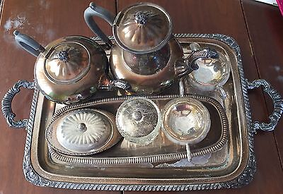 marlboro silver plated 5-piece tea set with additional silver plated items.