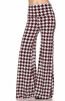 2LUV Plus Women's Plus Size Houndstooth Palazzo Pants Burgundy White 2XL OG-PL17