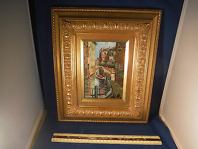 """Original Oil Painting Italian """"Streets Of Venice"""" Gorgeous Gold Leaf Frame"""