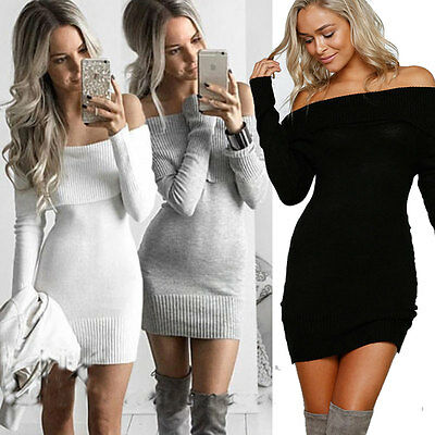 Women Long Sleeve Bodycon Casual Party Evening Cocktail Mini Dress White XL ZR5