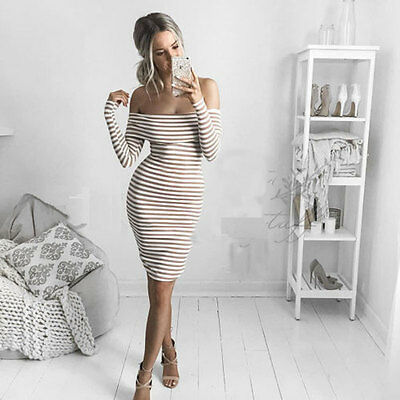 Women Off Shoulder Long Sleeve Bodycon Dress Evening Party Cocktail Stripe S ZR2