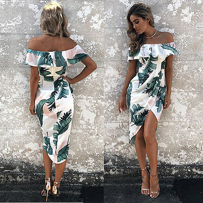 Womens BOHO Long Evening Party Cocktail Prom Floral  Beach Maxi Dresses XL LZF6