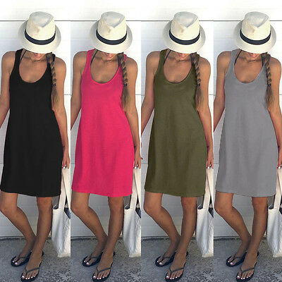 Summer Womens Sleeveless Long Dresses Casual Party Evening Cocktail Black S LZF6