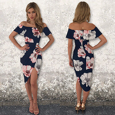 Womens BOHO Long Evening Party Cocktail Prom Floral  Beach Maxi Dresses M LZF06