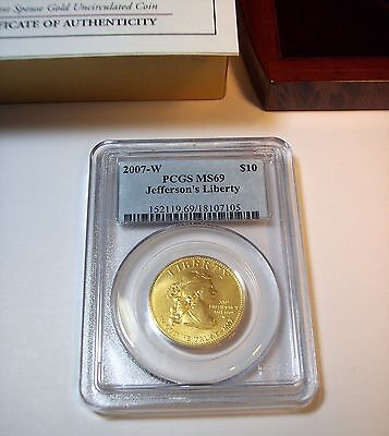 2007-W JEFFERSON'S LIBERTY $10 Gold First Spouse Coin, PCGS MS69, Mint Box & COA