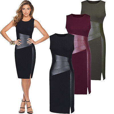 Womens Dresses Casual Bandage Bodycon Evening Party Cocktail Dress Black XL LZF6