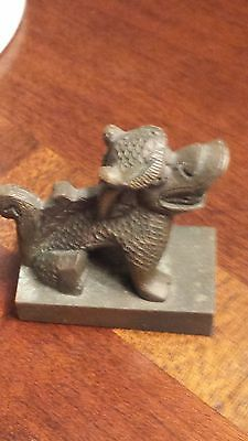 Antique Bronze Chinese Foo Dog Dragon Imperial Seal Stamp