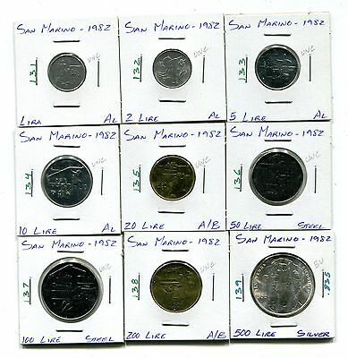 San Marino : 1982 Lot of 9 different uncirculated coins with silver