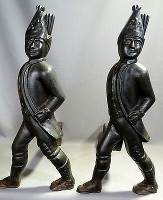 LG Pair (2) Antique CAST IRON Figural HESSIAN SOLDIER Statue FIREPLACE ANDIRONS