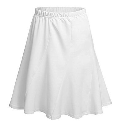 Meaneor Women Versatile Flared Stretch Wide Band Skater Skirts,White/L, New