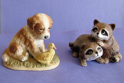 2 HOMCO #1413 PUPPY DOG w/ DUCK & BABY RACCOONS #1454 Home Interiors