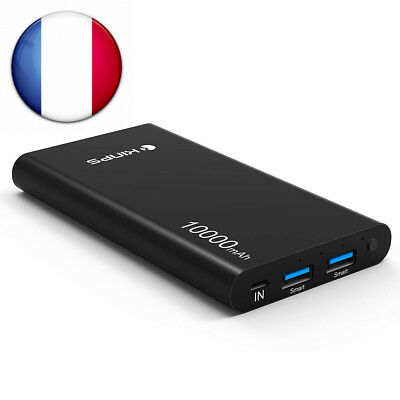 Kinps Batterie Externe 10000mAh Double USB avec LED power bank chargeur portable