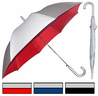"48"" Silver Auto-Open Umbrella Rain/Shine - RainStoppers Rain/Sun UV Fashion"