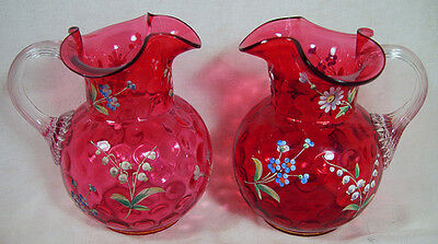 Pair of Cranberry Glass Hand Painted / Hand Blown Pitchers