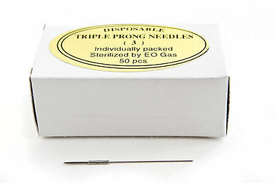 KP Permanent Cosmetic Makeup Sterile Disposable Triple Prong Round Needle 50pc