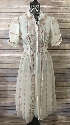 Vintage Trillium Lingerie Women's Size 34 Buttoned Collared Embroidered Dress