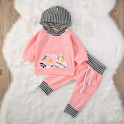 0-3M 2pcs Newborn Baby Boy Girl Hooded Tops Long Pants Outfit Clothes Set USA