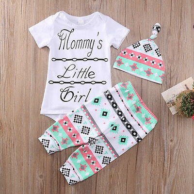 0-3M Toddler Baby Girl Outfits Romper Tops Pants Legging Hat Clothes 3PCS USA